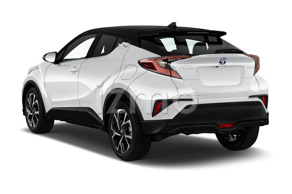 Car pictures of rear three quarter view of a 2018 Toyota C-HR C-LUB hybrid 5 Door SUV angular rear
