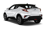 Car pictures of rear three quarter view of a 2018 Toyota C-HR C-LUB hybrid 5 Door SUV angular rear