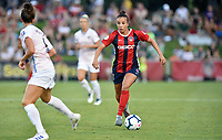 BOYDS, MD - JULY 20: Washington Spirit forward Mallory Mal Pugh (11) looks for a teammate to pass to while dribbling during the National Women's Soccer League (NWSL) game between the Houston Dash and Washington Spirit July 20, 2019 at Maureen Hendricks Field at Maryland SoccerPlex in Boyds, MD. (Photo by Randy Litzinger/Icon Sportswire)