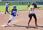 Willow Glen HS vs. Los Altos HS at LAHS, first round CCS playoffs, May 16, 2012.  Los Altos wins 5-0..Jasmine Pedroza rounds third base.