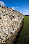 Brick work walls of Roman fort, Burgh Castle, Great Yarmouth, Norfolk, England
