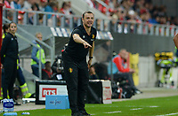 20181009 – BIEL BIENNE , SWITZERLAND : Belgian head coach Ives Serneels pictured during the female soccer game between Switzerland and the Belgian Red Flames , the second leg in the semi finals play offs for qualification for the World Championship in France 2019 ; the first leg ended in equality 2-2 ;  Tuesday 9 th october 2018 at The Tissot Arena  in BIEL BIENNE , Switzerland . PHOTO SPORTPIX.BE | DAVID CATRY