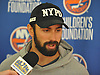 Nick Leddy of the New York Islanders speaks with reporters at the Long Island Marriott in Uniondale on Thursday, Sept. 22, 2016.