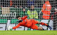 Manchester City 's Arijanet Muric saving a penalty taken by Leicester City 's James Maddison (not shown) <br /> <br /> Photographer Andrew Kearns/CameraSport<br /> <br /> English League Cup - Carabao Cup Quarter Final - Leicester City v Manchester City - Tuesday 18th December 2018 - King Power Stadium - Leicester<br />  <br /> World Copyright &copy; 2018 CameraSport. All rights reserved. 43 Linden Ave. Countesthorpe. Leicester. England. LE8 5PG - Tel: +44 (0) 116 277 4147 - admin@camerasport.com - www.camerasport.com