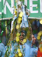Manchester City's Danilo with the trophy<br /> <br /> Photographer Rob Newell/CameraSport<br /> <br /> The Carabao Cup Final - Chelsea v Manchester City - Sunday 24th February 2019 - Wembley Stadium - London<br />  <br /> World Copyright © 2018 CameraSport. All rights reserved. 43 Linden Ave. Countesthorpe. Leicester. England. LE8 5PG - Tel: +44 (0) 116 277 4147 - admin@camerasport.com - www.camerasport.com