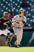 Baylor Bears outfielder Adam Toth (15) follows through on his swing during Houston College Classic against the Hawaii Rainbow Warriors on March 6, 2015 at Minute Maid Park in Houston, Texas. Hawaii defeated Baylor 2-1. (Andrew Woolley/Four Seam Images)