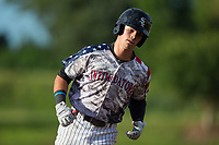 Mitch Roman (10) of the Kannapolis Intimidators rounds the bases after hitting a solo home run against the Delmarva Shorebirds at Kannapolis Intimidators Stadium on June 30, 2017 in Kannapolis, North Carolina.  The Shorebirds defeated the Intimidators 6-4.  (Brian Westerholt/Four Seam Images)