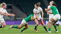 Lauren Cattell in action, England Women v Ireland Women in a 6 Nations match at Twickenham Stadium, Whitton Road, Twickenham, England, on 27th February 2016
