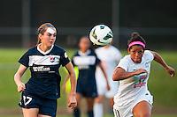 Sky Blue FC midfielder Katy Freels (Frierson) (17) and FC Kansas City midfielder Desiree Scott (11). Sky Blue FC and FC Kansas City played to a 2-2 tie during a National Women's Soccer League (NWSL) match at Yurcak Field in Piscataway, NJ, on June 26, 2013.