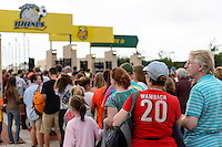 Fans line up to enter the stadium. The Portland Thorns defeated the Western New York Flash 2-0 during the National Women's Soccer League (NWSL) finals at Sahlen's Stadium in Rochester, NY, on August 31, 2013.