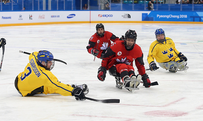 Pyeongchang, Korea, 10/3/2018- Rob Armstrong of Canada plays Sweden in hockey during the 2018 Paralympic Games in PyeongChang. Photo Scott Grant/Canadian Paralympic Committee.