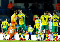 Norwich City's Christoph Zimmermann calms his Tim Krul down after he got into an altercation with Leeds United's Patrick Bamford<br /> <br /> Photographer Alex Dodd/CameraSport<br /> <br /> The EFL Sky Bet Championship - Leeds United v Norwich City - Saturday 2nd February 2019 - Elland Road - Leeds<br /> <br /> World Copyright © 2019 CameraSport. All rights reserved. 43 Linden Ave. Countesthorpe. Leicester. England. LE8 5PG - Tel: +44 (0) 116 277 4147 - admin@camerasport.com - www.camerasport.com
