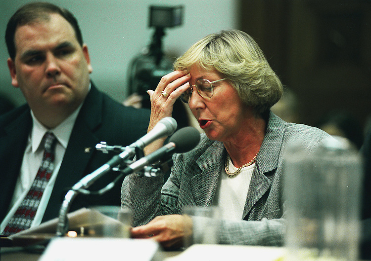 5-27-99.FIREARMS LEGISLATION-- Byrd Phillips-Taylor testifies  before the House Subcommittee on Crime during the hearing on pending gun-control legislation. Her son was killed by a handgun..CONGRESSIONAL QUARTERLY PHOTO BY DOUGLAS GRAHAM