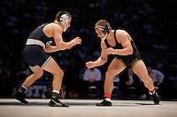 STATE COLLEGE, PA - FEBRUARY 8: Nick Moore of the Iowa Hawkeyes and Garett Hammond of the Penn State Nittany Lions during their match on February 8, 2015 at the Bryce Jordan Center on the campus of Penn State University in State College, Pennsylvania. The Hawkeyes won 18-12. (Photo by Hunter Martin/Getty Images) *** Local Caption *** Nick Moore;Garett Hammond