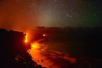 ocean entry and the stars, Kilauea volcano, Hawaii Volcanoes National Park, Big Island, Hawaii, USA