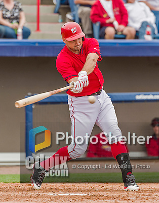 7 March 2015: Washington Nationals first baseman Ryan Zimmerman in Spring Training action against the St. Louis Cardinals at Space Coast Stadium in Viera, Florida. The Nationals rallied to defeat the Cardinals 6-5 in Grapefruit League play. Mandatory Credit: Ed Wolfstein Photo *** RAW (NEF) Image File Available ***