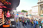 Race leader Maglia Rosa Tom Dumoulin (NED) Team Sunweb on the podium at the end of Stage 15 of the 100th edition of the Giro d'Italia 2017, running 199km from Valdengo to Bergamo, Italy. 21st May 2017.<br /> Picture: LaPresse/Massimo Paolone | Cyclefile<br /> <br /> <br /> All photos usage must carry mandatory copyright credit (&copy; Cyclefile | LaPresse/Massimo Paolone)