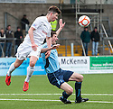 Forfar's Chris Templeman is pulled down in the box by Ayr Utd's Darren Brownlie for Forfar's penalty.