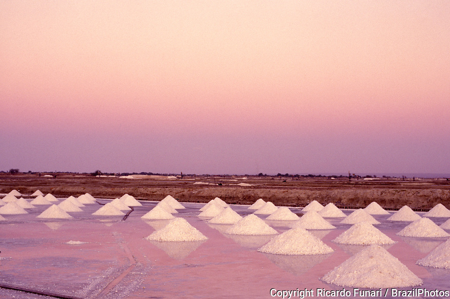 Salt mounds, sea salt harvesting in Rio Grande do Norte State, Brazil. Due to its semi-arid climate in the north coast, Rio Grande do Norte is responsible for producing over 95% of the Brazilian salt.
