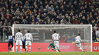 Calcio, semifinali di andata di Coppa Italia: Juventus vs Inter. Torino, Juventus Stadium, 27 gennaio 2016.<br /> Juventus&rsquo; Alvaro Morata, right, scores on a penalty kick during the Italian Cup semifinal first leg football match between Juventus and FC Inter at Juventus stadium, 27 January 2016.<br /> UPDATE IMAGES PRESS/Isabella Bonotto