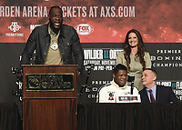 LAS VEGAS - NOVEMBER 20:  Deontay Wilder, Heidi Androl and Luis Ortiz attend the final press conference for their November 23 fight on the Fox Sports PBC Pay-Per-View fight night on September 20, 2019 in. Las Vegas, Nevada. (Photo by Scott Kirkland/Fox Sports/PictureGroup)