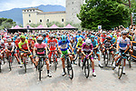 The peleton lined up for the start of Stage 17 of the 2018 Giro d'Italia, The Franciacorta Stage running 155km from Riva del Garda to Iseo, Italy. 23rd May 2018.<br /> Picture: LaPresse/Gian Mattia D'Alberto | Cyclefile<br /> <br /> <br /> All photos usage must carry mandatory copyright credit (&copy; Cyclefile | LaPresse/Gian Mattia D'Alberto)