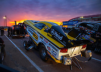 Apr 20, 2018; Baytown, TX, USA; The sun sets behind the car of NHRA funny car driver Jonnie Lindberg during qualifying for the Springnationals at Royal Purple Raceway. Mandatory Credit: Mark J. Rebilas-USA TODAY Sports