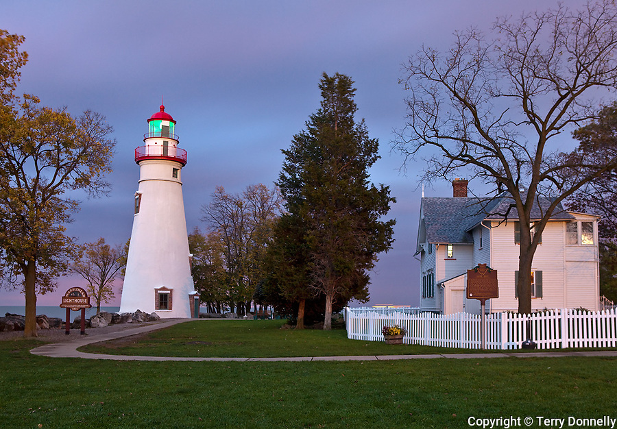 Marblehead Lighthouse State Park, OH<br /> Marblehead Lighthouse (1819) on Lake Erie at dusk, oldest lighthouse in continuous operatoin on the great lakes