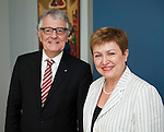 Brussels-Belgium - June 19, 2014 -- Kristalina GEORGIEVA (ri), European Commissioner in charge of International Cooperation, Humanitarian Aid and Crisis Response, receives Christoph STRÄSSER  (Straesser, Strasser) (le), German Federal Government Commissioner for Human Rights Policy and Humanitarian Aid -- Photo: © HorstWagner.eu
