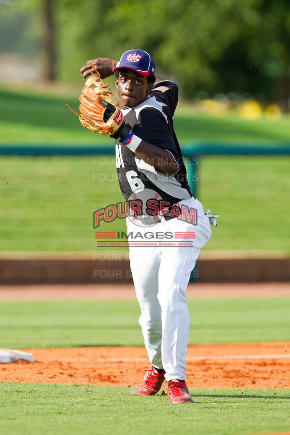 Third baseman Franklyn Richardson #6 of RBI makes a throw to first base against American Legion at the 2011 Tournament of Stars at the USA Baseball National Training Center on June 25, 2011 in Cary, North Carolina.  RBI defeated American Legion by the score of 8-7. (Brian Westerholt/Four Seam Images)