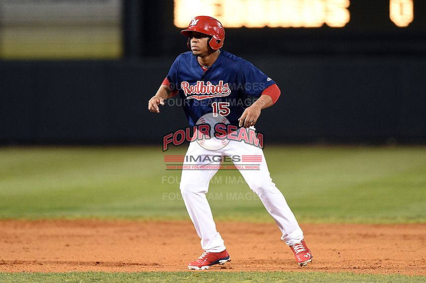 Memphis Redbirds designated hitter Oscar Taveras (15) leads off second during a game against the Oklahoma City RedHawks on May 23, 2014 at AutoZone Park in Memphis, Tennessee.  Oklahoma City defeated Memphis 12-10.  (Mike Janes/Four Seam Images)