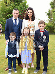 Ryan Delaney from St. Joseph's School who received his first holy communion in St. Joseph's church Mell with parents Trevor and Laura, brother Conor and sister Cara. Photo:Colin Bell/pressphotos.ie