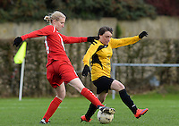 20151128 - PITTEM , BELGIUM : Lieselot De Bruyn (10) pictured with Elodie Cnockaert (r) during a soccer match between the women teams of DVK Egem Ladies and KVK Svelta Melsele  , during the eleventh matchday in the Second League - Tweede Nationale season, Saturday 28 November 2015 . PHOTO DAVID CATRY