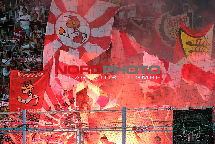 22.08.2013., Stadium Kantrida, Rijeka, Croatia - UEFA European League 4th qualifying round, HNK Rijeka - VfB Stuttgart. Fans of Stuttgart. <br /> <br /> Foto &copy;  nph / PIXSELL / Igor Kralj