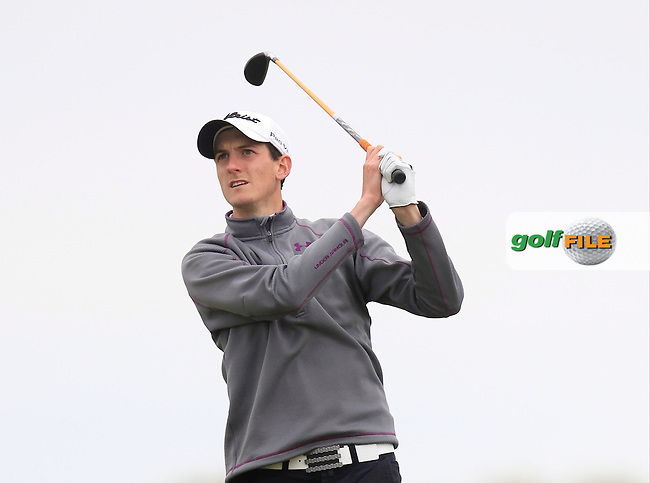Tiernan McLarnon (Massereene) on the 9th tee during Round 1 of the East of Ireland Amateur Open Championship at Co. Louth Golf Club, Baltray on Saturday 30th May 2015.<br /> Picture:  Thos Caffrey / www.golffile.ie