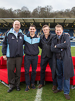 (l-r) Wycombe Trust Direct Trevor Stroud, Wycombe Player Matt Bloomfield, Wycombe Manager Gareth Ainsworth, Bill Turnbull & Wycombe Chairman Andrew Howard During BBC Breakfast as they air their live broadcast on Tuesday morning, presented by Bill Turnbull for his penultimate appearance on the programme at Adams Park, High Wycombe, England on 23 February 2016. Photo by Andy Rowland.