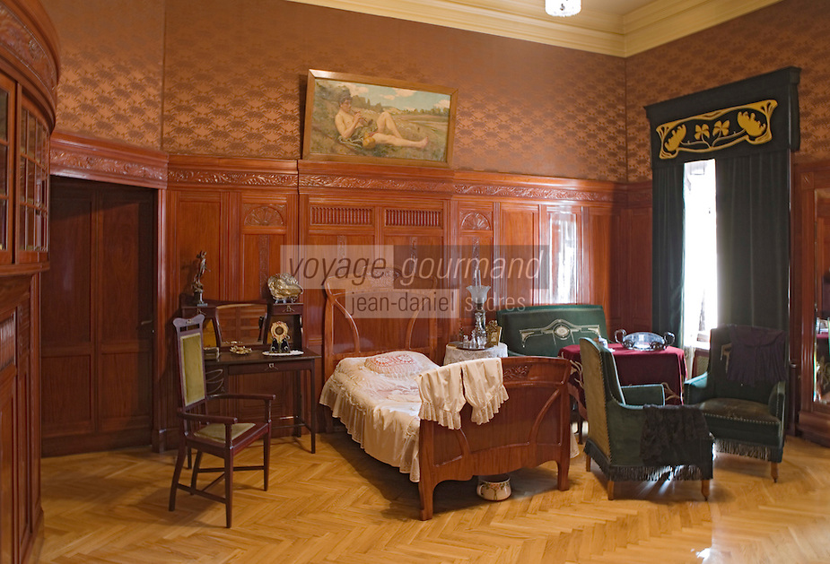 Europe/Pologne/Lodz: Le Palais d'Israël Poznanski qui contient le Musée d'Histoire de la Ville de Lodz - détail d'une chambre