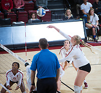 STANFORD, CA - December 1, 2018: Kathryn Plummer, Holly Campbell, Tami Alade at Maples Pavilion. The Stanford Cardinal defeated Loyola Marymount 25-20, 25-15, 25-17 in the second round of the NCAA tournament.