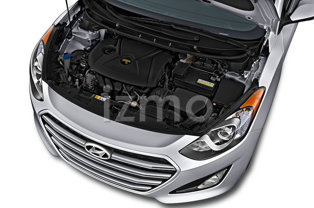 Car stock 2016 Hyundai Elantra Gt 5 Door Hatchback engine high angle detail view
