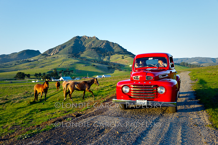 Family going for a drive in the old Ford truck, San Luis Obispo, California