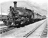 D&amp;RGW #478 K-28 with flat cars and caboose at Silverton station.<br /> D&amp;RGW  Silverton, CO