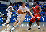 January 11, 2017:  Air Force guard, Jacob Van #15, drives past Fresno State's, Jahmel Taylor #5, during the NCAA basketball game between the Fresno State Bulldogs and the Air Force Academy Falcons, Clune Arena, U.S. Air Force Academy, Colorado Springs, Colorado.  Air Force defeats Fresno State 81-72.