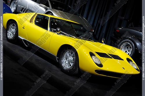 Yellow Lamborghini Miura 1969 retro super car Lamborghini Theatre at Toronto auto show 2008