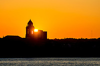View of Birkenhead from Liverpool, England, UK at sunset