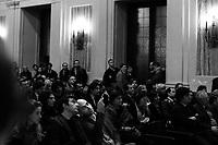 Milano: Roberto Saviano durante la cerimonia di conferimento della cittadinanza onoraria della città di Mlano...Milan: The city of Milan has awarded Roberto Saviano with an honorary citizenship. .