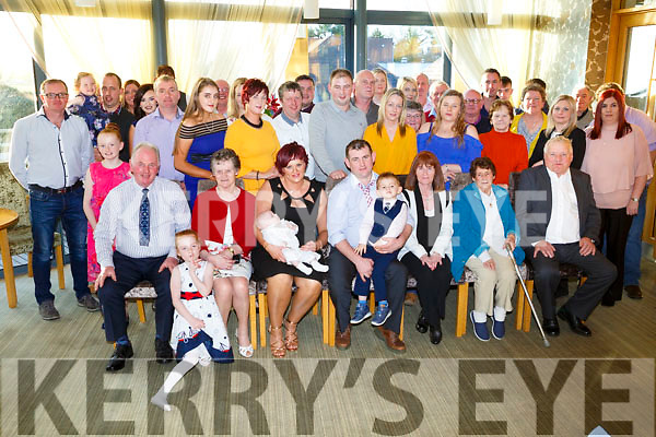 Parents Con O'Connor and Theresa O'Connor celebrates the christening of Baby Brian at Firies Church by Fr Docherty and after with family and friends at Ballyroe Heights Hotel