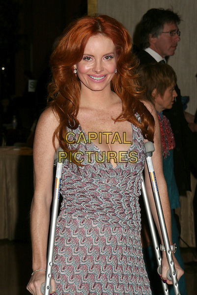 PHOEBE PRICE.56th Annual ACE Eddie Awards presented by the American Cinema Editors held at the Beverly Hilton Hotel, Beverly Hills, California, USA. .February 19th, 2006.Photo: Byron Purvis/AdMedia/Capital Pictures.Ref: BP/ADM.half length pink green dress crutches plunging cleavage neckline.www.capitalpictures.com.sales@capitalpictures.com.© Capital Pictures.