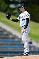 Starting pitcher Aaron Poreda (49) of the Winston-Salem Warthogs looks in to his catcher for the sign versus the Frederick Keys at Ernie Shore Field in Winston-Salem, NC, Sunday, April 20, 2008.