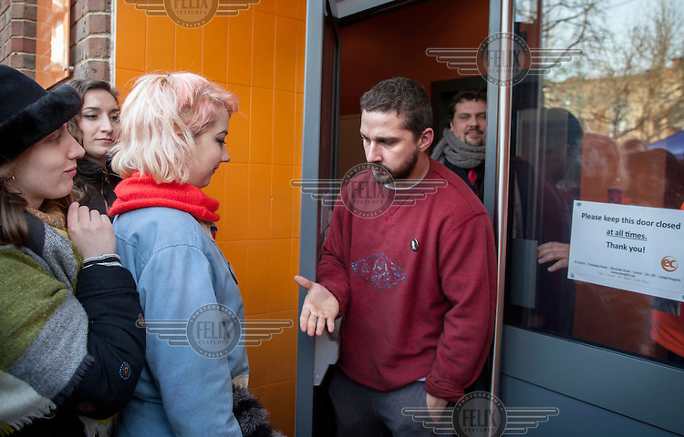 After spending 24 hours in a lift at EC Oxford, for a performance art project in an English language course centre in Gloucester Green, Shia LaBeouf meets students who have queued all night for the oportunity of a conversation with him.