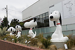 Various statues of Snoopy on display at the entrance of the Snoopy Museum Tokyo in Roppongi on April 21, 2016, Tokyo, Japan. Snoopy Museum Tokyo is the first outside the United States dedicated to the artwork of Charles M. Schulz. On display are some 60 original comic strips selected by Jean Schulz, wife of Peanuts creator, and personal gifts from fans that she has received over the years. My Favorite Peanuts is the first of six rotating exhibitions organised by the Charles M. Schulz Museum in Santa Rosa, California, to be displayed. The temporary museum will be open for 2 1/2 years. (Photo by Rodrigo Reyes Marin/AFLO)